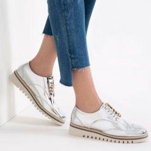 Zara Metallic Silver Oxford Platform Sneakers